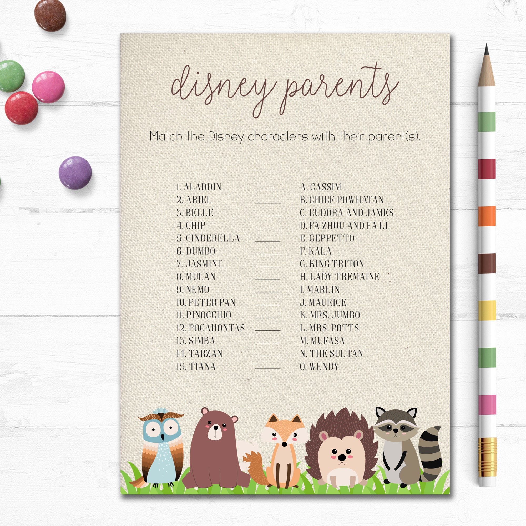 Printable Woodland Baby Shower Game, Disney Parents Game, Disney ...