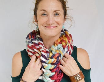 Coffee Shop C O W L ~ handmade, knit, red, mint, purple, cream, gold, color mix, chunky, acrylic yarn, variegated, women, winter, scarf