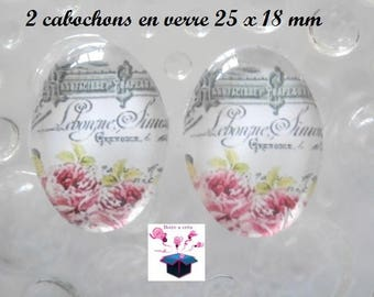 2 cabochons glass 25mm x 18mm vintage theme
