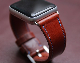 Handmade Leather Apple Watch Strap from HlavkaLeather - 100% handmade (handcut, handstitched) - TAN