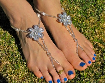 Silver and Crystal Flower Barefoot Sandals, Foot Thong, Slave Anklet, Ankle Bracelet with Toe Ring