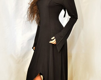 Black Long Pointy Hem Elven Faery Pixie Dress with Pixie Hood, Size S/M, IN STOCK
