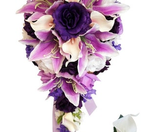 Cascade bouquet&Boutonniere:Shades of purple,lavender,and white