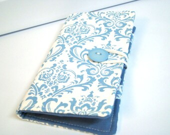 12 Card Loyalty Card Organizer, Business Card Holder  Credit Card Wallet Blue and White Damask