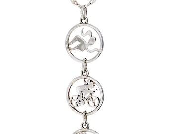 Triathlon Vertical Swim Bike Run Necklace- Sterling Silver- Triathlon Jewelry