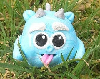 Cute, blue, swirls, cheeky, little, polymer clay, model