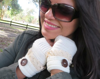 Ivory Fingerless Gloves, Knitted Winter Gloves, Wrist Warmers, Gloves, Winter Knitted Warm Gloves, Mittens, Christmas Gift For Her Under 15
