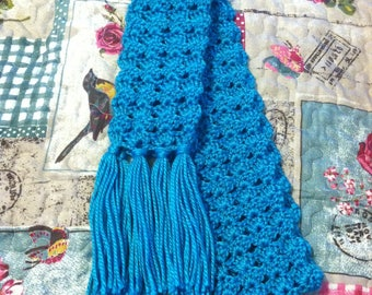Handmade Aqua/Turquoise Scarf, Long Scarf, Crocheted Scarf, Winter Scarf, Open Ended with Tassels,