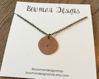 Single Initial Smashed Penny Necklace - Initial Necklace - Handstamped - Personalized