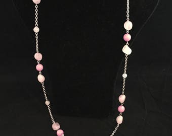 Long Silver Chain with Ruby and Rose Quartz