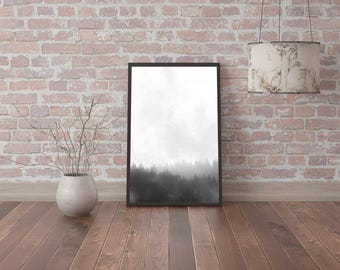 Digital print photo image picture, black and white wall art misty foggy forest silhouette fog instant download, printable posters minimalism