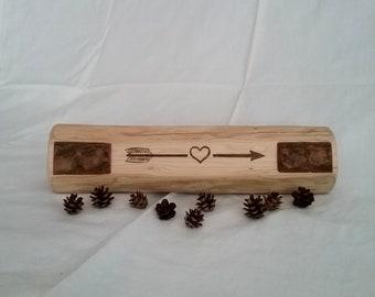 Rustic Engraved Log Decor Centerpiece Handmade Found Wood Mantelpiece With Bark Accents Farmhouse Decor Arrow Heart