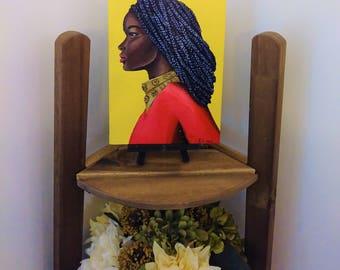 Original acrylic portrait painting elegant of black woman, braids, orange tunic, embellishment, top 6x8 inch, Afrocentric art, include stand