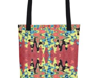 All Over Print Tote bag, Printed Tote Bag, Colorful Tote Bag, Water Resistant Tote Bag, Wave ZigZag Tote, Multicolor Tote Bag