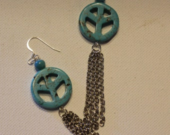 Blue Peace Sign Earrings/Earrings Handmade/Free Shipping/Turquoise And Silver Earrings For Women/Hippy Dangle Earrings/Blue Silver Earrings