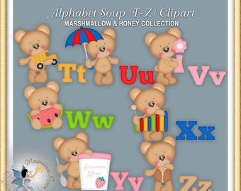 Alphabet Soup Clipart 4, Teddy Bear, Marshmallow and Honey