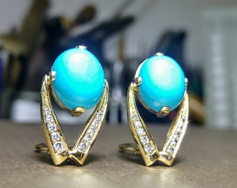 Turquoise gold diamond earrings, turquoise gold earrings, turquoise diamond earrings, turquoise earrings.