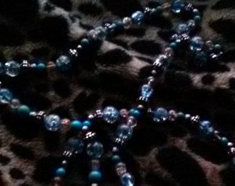 Turquoise and Orange Beaded Necklace
