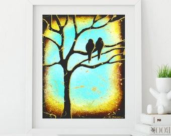 Love Birds Art Gift for Couple, Romantic Love Art Print, Two Birds in Tree Bedroom Decor Anniversary Gift
