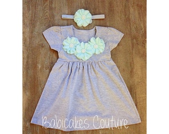 Mint and Gray Dress, Heather Gray Dress, Gray Play Dress, Gray Cotton Baby Dress, Gray Baby Dress, Baby Girl Summer Dress, Baby Girl Clothes