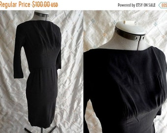 "ON SALE 60's Dress  // Vintage 1960's Black Dress by Jr Flair Size XS 23"" waist little black dress Lbd"