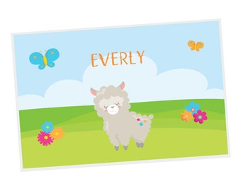 Llama Personalized Placemat - Llama Party Sky Grass Flowers Butterflies with Name, Customized Laminated Placemat