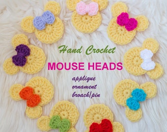 Yellow Hand Crochet MOUSE Heads - applique/ornament/broach/pin