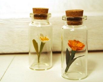 miniature paper flower sculpture jar orange zinnia gardener gift