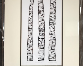 Three Birches Block Print