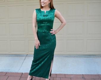 Emerald Green Evening Gown 60's Evening Wear Long Dress Maxi Dress With Slit 60s Clothing Epsteam