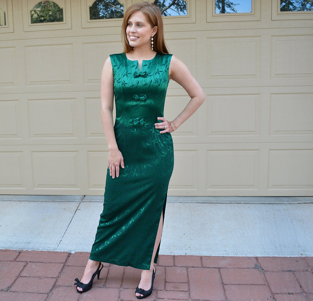Emerald Green Evening Gown 60\'s Evening Wear Long Dress Maxi Dress ...