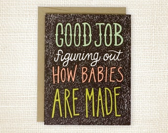 New Baby Congratulations Card, Pregnancy Card - How Babies Are Made