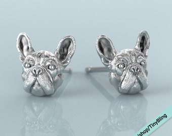 Handmade French Bulldog Earring Studs in Sterling Silver.