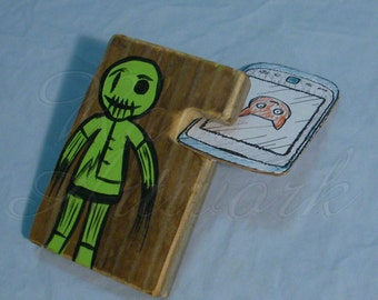 Halloween iPhone Docking Station Original Zombie Painting Wooden Stand Handmade Phone Accessory Reclaimed Wood Ragdoll