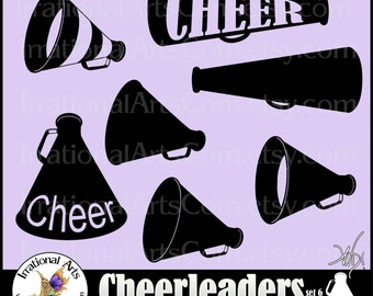 Megaphone Cheer Silhouettes set 6 - 7 Vector Vinyl-Ready EPS SVG PNG megaphone clipart graphics & commercial license {Instant Download}