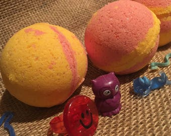 Kids SuRpRiSe Strawberry Banana Bath Bomb Fizzy ~ with hidden surprise toy inside!  Great for Sensitive Skin