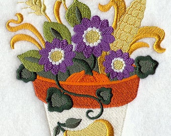 Blooming in September Embroidered Flour Sack Hand/Dish Towel