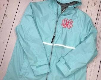Monogrammed Rain Jacket -Charles River Rain Jacket- Charles River Rain Coat - Women's Rain Coat - Monogrammed Full Zip Rain Jacket