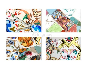 Wall Art Set, Colorful prints set, Gaudi Art print, modern home decor, Colorful prints, Mosaic tiles, Gaudi, tile pattern