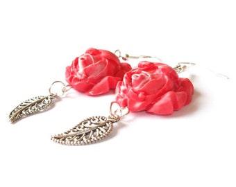 Rose Earrings red rose earrings ( polymer clay rose flower earrings bridesmaid earrings wedding earrings silver earrings bridesmaid gift )