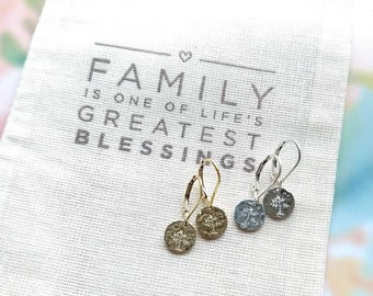 Family Tree Jewelry Earrings Gift for Sister Mom Aunt Cousin Sterling Silver Gold Fill Unique Birthday Gift Small Everyday Hammered Earrings