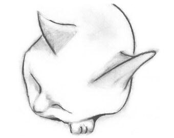 Cat Card Fine Art Cat Greeting Card - Peaceful Cat