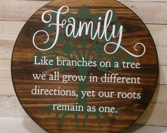 Hand Painted Rustic Family sign, Round Sign, Farmhouse Tray, Like Branches of a Tree, Cottage Sign, Family Tree Sign, Photo Gallery Decor