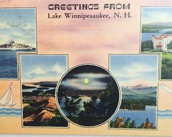 Vintage N H Postcard Greetings from Lake Winnipesaukee New Hampshire 1943