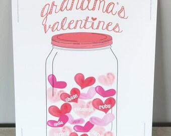 Valentine print - Nana's valentines - Grandma's valentines - gift for nana - valentine gift - personalized valentine print