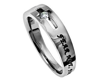 """Solitaire Ring """"Fear Not"""""""