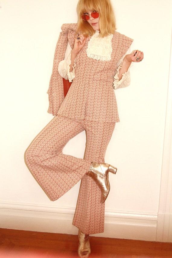 Vtg 70s Mod 3 Piece Pant Suit Set S/M