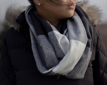 Black-grey-white large plaid infinity scarf