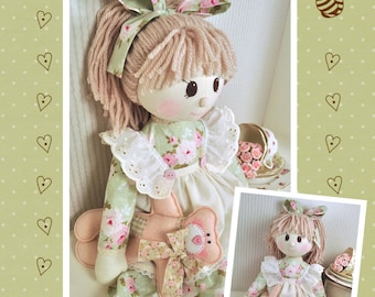 PDF - Holly Rag Doll Sewing Pattern - Instant download