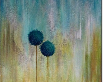 Abstract Acrylic Painting Floral Canvas Art Home Decor Original Textured WALL ART PAINTING Contemporary Art Turquoise Flower Landscape 24x24